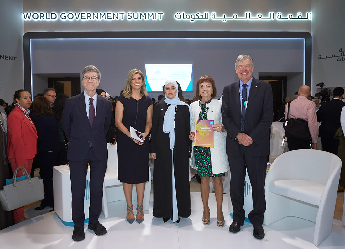 Authors of the 2nd edition of the Global Happiness and Well-being Policy Report present at the 7th annual gathering of the World Government Summit in Dubai on February 10, 2019